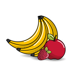 babanas apple and strawberry fruits icon vector image vector image