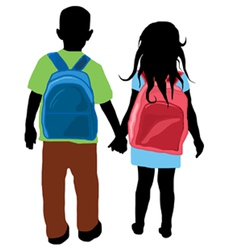 back to school kids silhouette vector image vector image