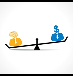 Comparison between men having idea and money stock vector image vector image