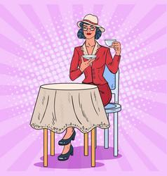 pop art woman drinking tea in cafe coffee break vector image vector image