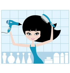 pretty girl dries hair vector image