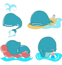set of whales vector image vector image