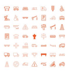 49 traffic icons vector image