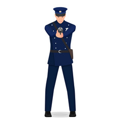 a policeman aims at the criminal vector image