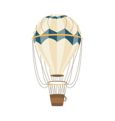 air balloon with striped aerostat and basket flat vector image