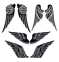Angel wings set silhouette vector image