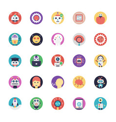Artificial intelligence flat icons collecti vector