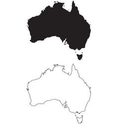 Australia country map black silhouette vector