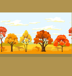 autumn seamless pattern with landscape and vector image