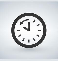 back arrow around clock glyph icon vector image