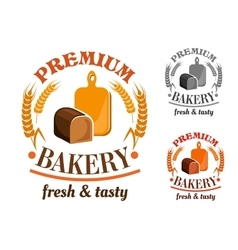 Bakery shop emblem with rye bread loaf vector