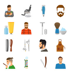 Barber flat icons set vector
