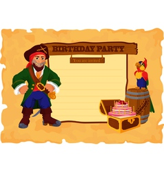 Birhday party card with pirate vector image