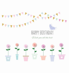 Birthday card with flowers and bunting flags vector