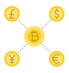 bitcoin with another currency flat design vector image