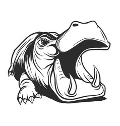 black and white linear paint draw hippo vector image