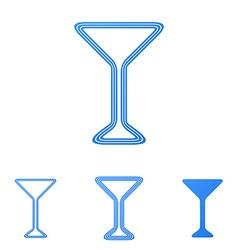 Blue line cocktail logo design set vector