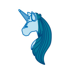 Blue silhouette of faceless side view of unicorn vector