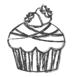Blurred silhouette sketch cupcake with two vector