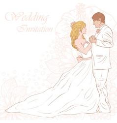Bride and groom wedding invitation card vector