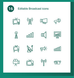 broadcast icons vector image