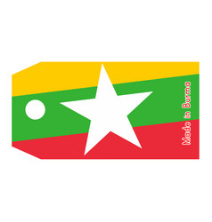 Burma flag on price tag with word vector