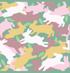 Camouflage seamless pattern bunny and leaves vector