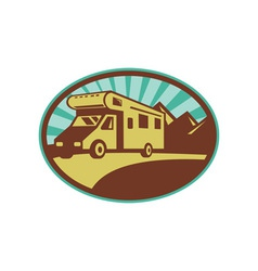 Camper van travel with mountains and sunburst vector image vector image