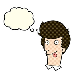 cartoon man with tongue hanging out with thought vector image