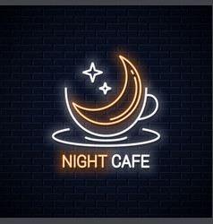 coffee cup logo night coffee with moon linear vector image