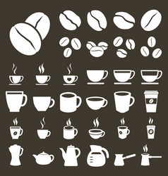 coffee icons coffee cups and beans silhouette vector image