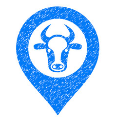 Cow map marker icon grunge watermark vector