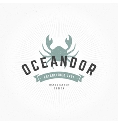 Crab Hand Drawn Design Element in Vintage Style vector image