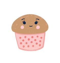 Cute cupcake flat creamy vector