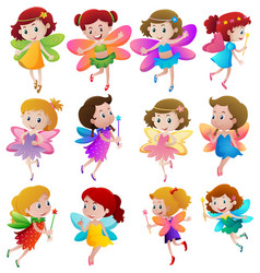 Different characters of fairies flying vector