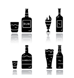 Drinks drop shadow black glyph icons set rum vector