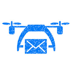 Drone mail grunge icon vector