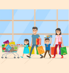 family with two children making purchases vector image