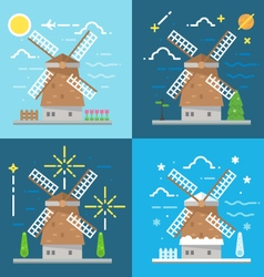 Flat design 4 styles of windmill Amsterdam vector image