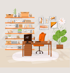 flat home office work place vector image