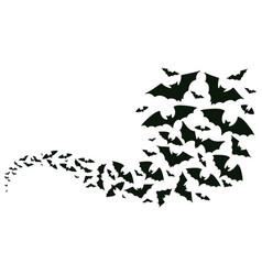 Flying halloween bats silhouettes bats flock vector
