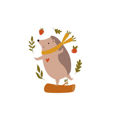 funny hedgehog in scarf dancing on a log forest vector image