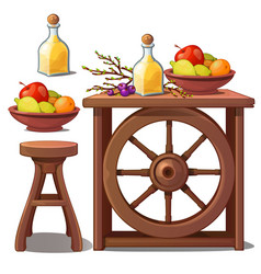 Furniture in country style liqueur and fruits vector
