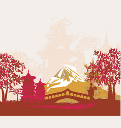 geisha silhouette at sunset vector image