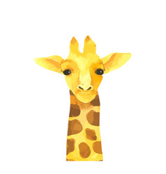 Giraffe cartoon watercolor animal hand drawn vector