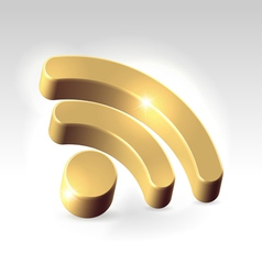 Golden RSS feed icon vector image
