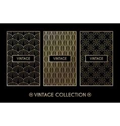 Golden vintage pattern on black background vector image vector image