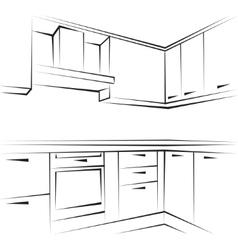 Hand drawn sketch sofa card vector