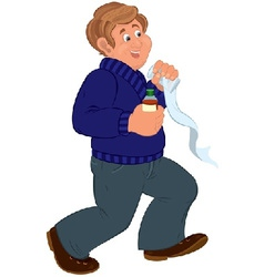 Happy cartoon man walking and holding first aid vector image vector image