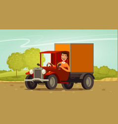 Happy driver rides in retro truck delivery vector